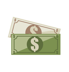 Color silhouette green bill with symbol dollar vector