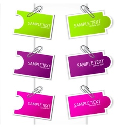 Colorful paper card with clip vector