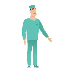 Doctor with arm out in a welcoming gesture vector