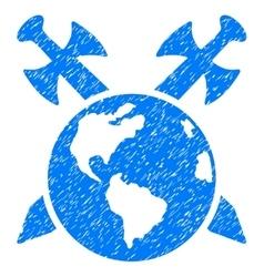 Earth swords grainy texture icon vector