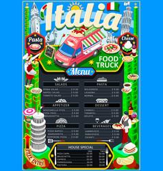 Food truck menu street food pizza festival poster vector