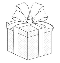 Gift box surprise with ribbon coloring vector
