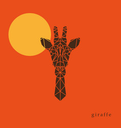 Giraffe head geometric lines silhouette vector