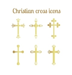 Golden cross icons set vector image vector image