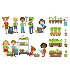 Kids gardening and picking up garbage set vector
