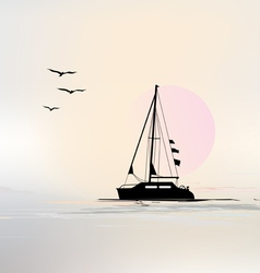 Landscape with sailing boat vector