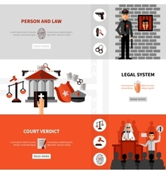 Legal law system flat banners set vector