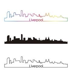 Liverpool skyline linear style with rainbow vector