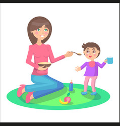 mother feeds baby boy who stands and holds cup vector image vector image