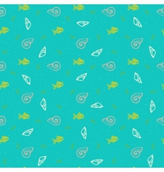 Nautical pattern with shells and fishes vector