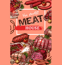 Poster for meat house butchery sketch vector