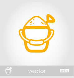 Sand bucket and shovel icon summer vacation vector