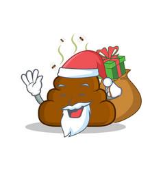 Santa with gift poop emoticon character cartoon vector