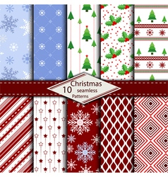 Set of 10 Merry Christmas seamless pattern vector image