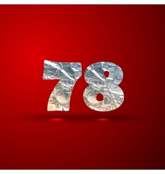 set of aluminum or silver foil numbers 7 8 vector image