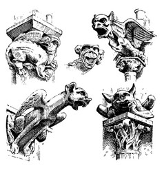 set of gargoyles chimera of notre-dame de paris vector image vector image