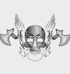Skull with axe tshirt design vector