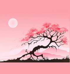 Spring landscape with cherry blossom vector