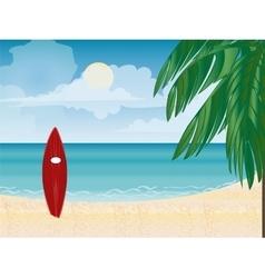 Surfboard beach vacation vector image