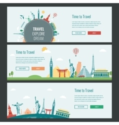 Travel and tourism headers banners with famous vector