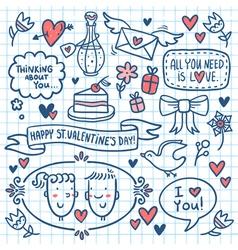 Valentine doodle set drawn on notebook paper vector image