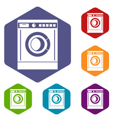 washing machine icons set vector image