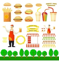 Set of fast food objects for your design vector
