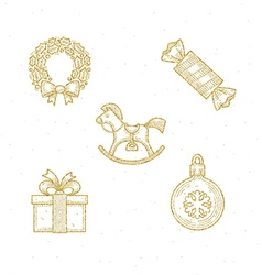 Christmas glitter gold sign and symbol vector