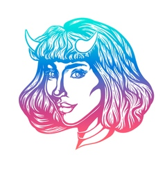 Devil woman head portrait with horns for t-shirts vector image