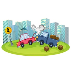 A car accident in front of the high buildings vector