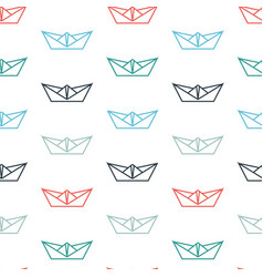 Seamless pattern with color paper boats vector