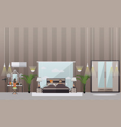 Set of bedroom flat style design elements vector