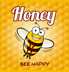 A friendly cute bee with smile on honey background vector