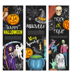 Halloween banners trick or treat sketch vector