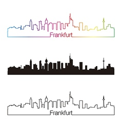 Frankfurt skyline linear style with rainbow vector