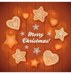 Christmas gingerbread stars and hearts greeting vector