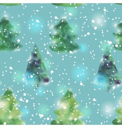 Seamless pattern with watercolour christmas trees vector