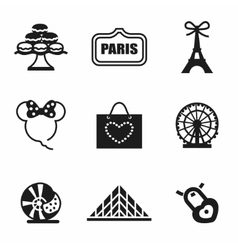 Paris icon set vector