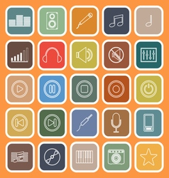 Music line flat icons on orange background vector