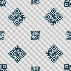 Qr code icon sign seamless pattern with geometric vector
