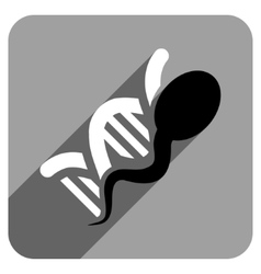Sperm genome flat square icon with long shadow vector