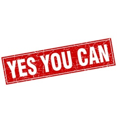 Yes you can red square grunge stamp on white vector