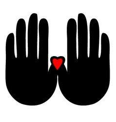 Hands with heart logo vector