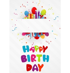 Birthday greeting card with gift box and confetti vector