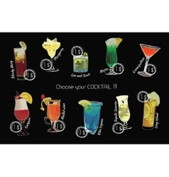 Cocktail set with price on chalk board template vector