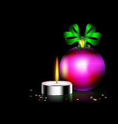 Candle christmas ball vector