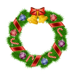 Christmas wreath isolated on white background vector image