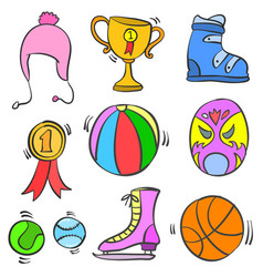 Collection of sport equipment various doodle vector