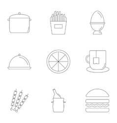 Cooking icons set outline style vector