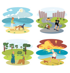 Dog and its owner set vector